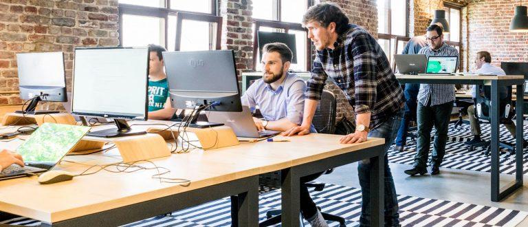 Kontor ved et startup-AS