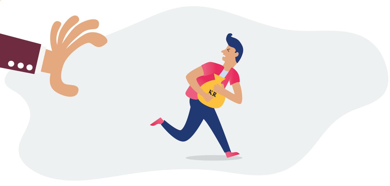 Person med pengesekk som springer fra en stor hånd
